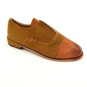 Womens Stitched Leather Shoes Brown NWOB